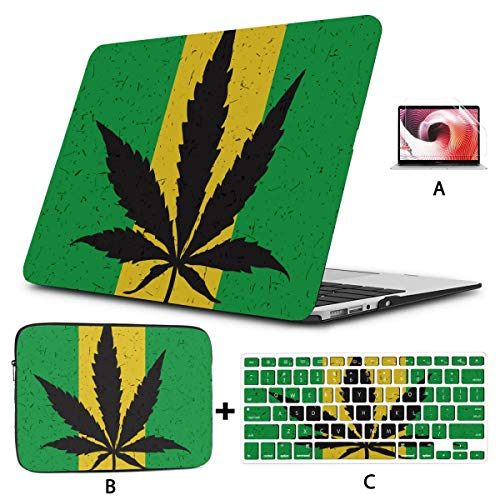Macbook Pro Shell Cool Green Cannabis Leaf Icon Macbook Air Case A1466 Hard Shell Mac Air 11'/13' Pro 13'/15'/16' With Notebook Sleeve Bag For Macbook 2008-2020 Version