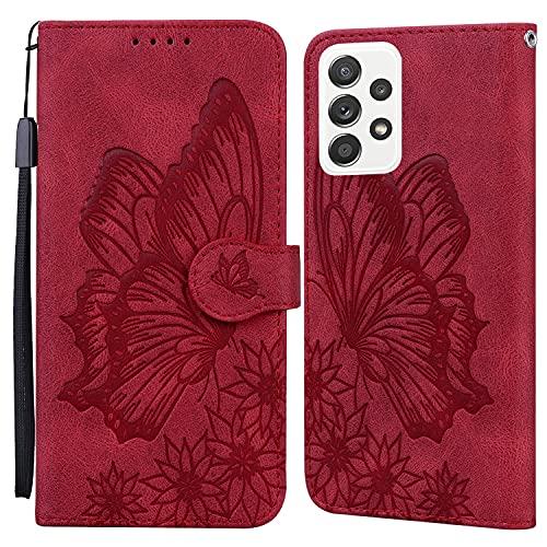 JRIANY Hülle für Oppo A72 / Oppo A52 Lederhülle Brieftasche Handyhülle mit Schmetterling Blume Muster PU Leder Tasche Hülle Klapphüllen Standfunktion Magnetverschluss Stoßfest Schutzhülle, Rot