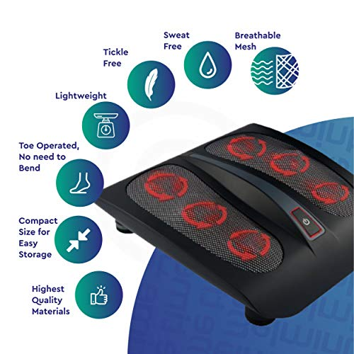 Belmint Shiatsu Foot Massager Machine with Heat - 18 Rotating Heads & Soothing Heat for Deep Kneading Massage Therapy and Plantar Fasciitis - Foot Arch and Nerve Pain Relief