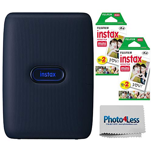 Fujifilm Instax Mini Link Smartphone Printer (Dark Denim) + Fuji Instax Mini Film (40 Sheets) - Instax Mini Link Printer Bundle