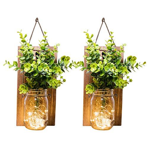 Zuoox Lámpara de pared rústica LED colgante (Green Plant Brown)