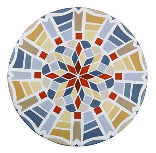 WENKO Spann-Tischdecke in Mosaikoptik - Spann-Tischtuch wetterbeständig für Küche, Esszimmer, Garten, Balkon oder Camping, Polyvinylchlorid, 70-86 x 70-86 cm