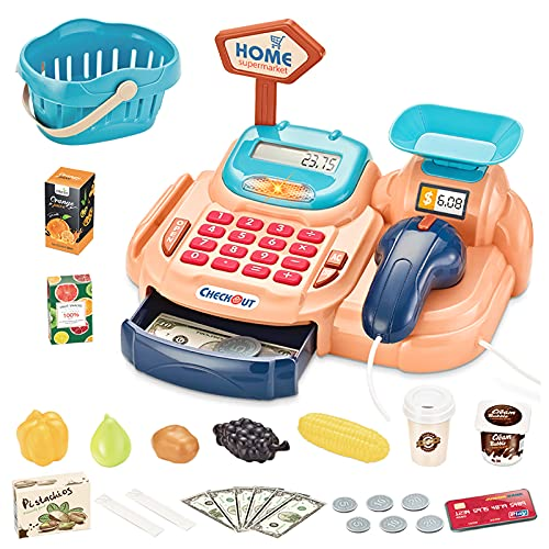 Juguetes De Caja Registradora Electrónica para Niños - Juego De Roles Supermercado Inteligente con Accesorios Ricos: EscAner | Comida: Regalo Ideal para Niños & Niñas.
