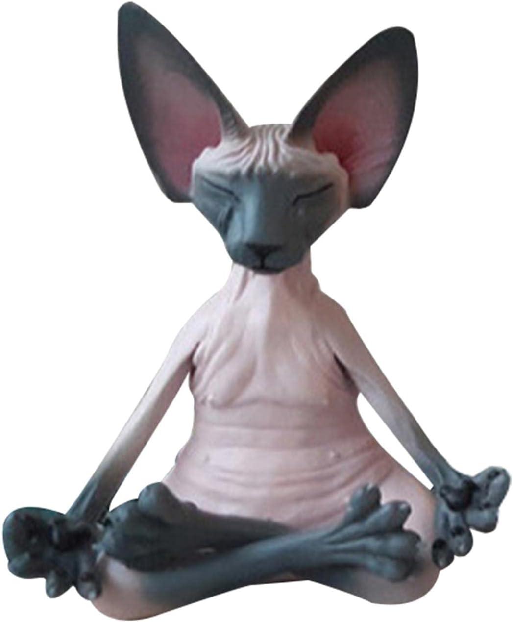 Sphynx Cat Meditate Statue Branded goods Meditat Handmade New item Meditation Decor