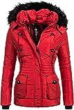 Marikoo Damen Winter Jacke Steppjacke Vanilla Rot...