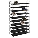 MaidMAX 10 Tiers Free Standing Shoe Rack for 50 Pairs of Shoes Organizer in Closet Entryway Hallway, Metal...