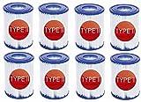 Cartuchos filtrantes Tipo II,For Bestway 58383 - Depuradora de Filtro Cartucho Tipo II,Cartuchos de Filtro de Repuesto,para Filtro de Limpieza de Piscina Hinchable Bestway 530/800 GAL/h (8 Pack)