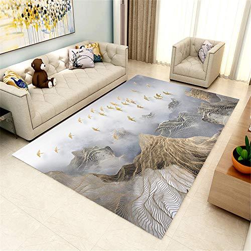 Kunsen Comedor hogar Decoracion Salon Alfombra de Estar Alfombra Gris Art Modern Durable Máquina Lavable alfombras Salon Modernas 160X230CM 5ft 3' X7ft 6.6'