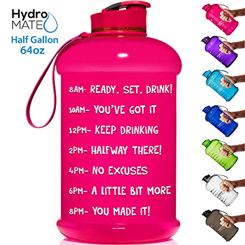 HydroMATE Half Gallon 64 oz Motivational Water Bottle with Time Marker Large BPA Free Jug with Handle Reusable Leak Proof Bottle Time Marked to Drink More Water Daily Hydro MATE (Neon Pink)