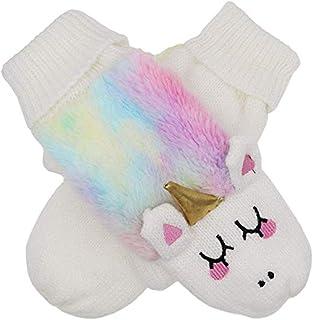 XPERRY Women Girls Unicorn Mitten Gloves Winter Rainbow Warm Lining Cozy Knit Faux Fur Mitten