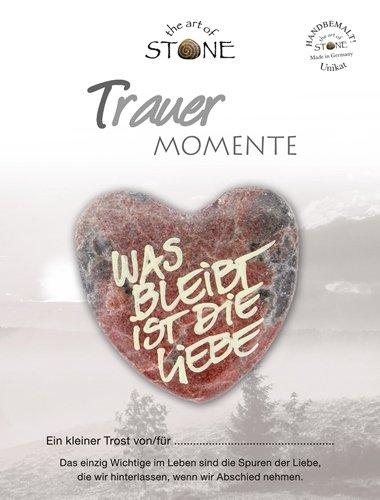 The Art of Stone Trauer Momente Marmorsteinherz mit dem Text - was bleibt ist Liebe - Unikat - von Hand beschriftet - Trauerbegleiter Trostspender und Grabbeigabe