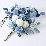 MNHGYT Flores Artificiales DIY Faux Hydranganea Flor, Flores Falsas con Ramos de Sala de Estar Decoración de la Sala Ramos para la Mesa Flores de arreglo Floral,Blue and White