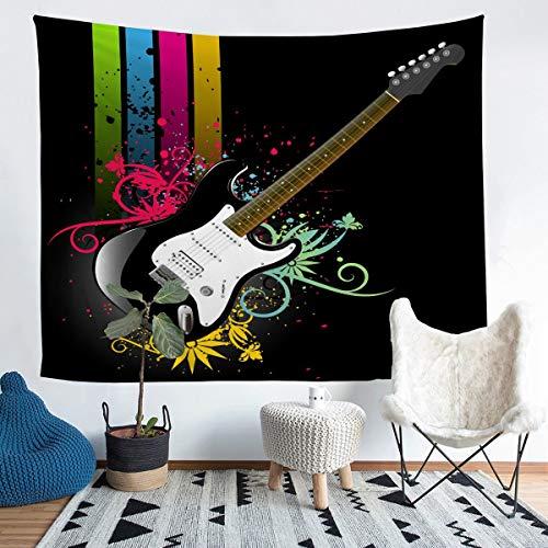 Tapiz para colgar en la pared de guitarra para niños y niñas, con diseño musical, ideal para decoración de la habitación, manta de cama, 152 x 201