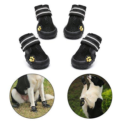 Royalcare Hundeschuhe Schutzstiefel Mesh atmungsaktiv Haustier Schuhe mit verschleißfesten und robusten Anti-Rutsch-Sohle geeignet für mittlere bis große Hunde (schwarz) (7#)