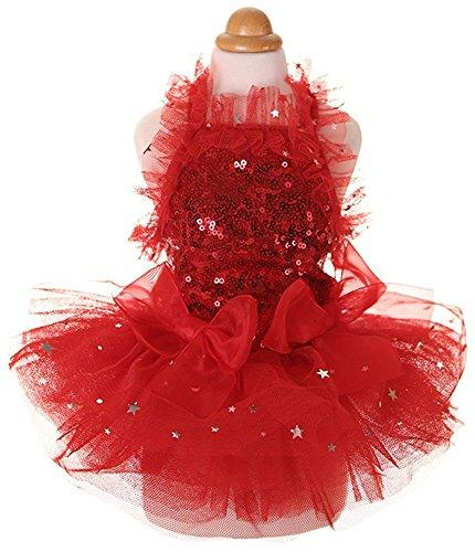 MaruPet Fashion Sweet Puppy Dog Blingbling Princess Skirt Pet Dog Lace Cake Camisole Tutu Dress Red...