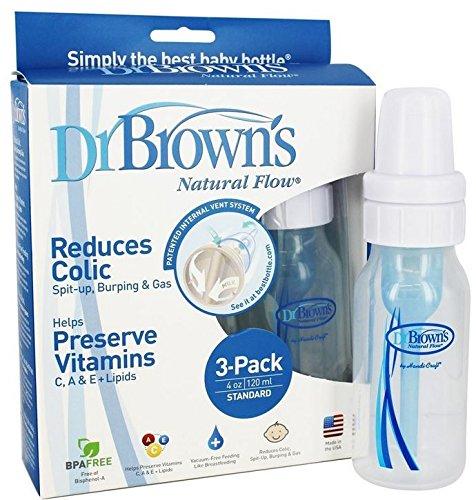 Brown's 4 oz Natural Flow Baby Bottle, 3 Pack