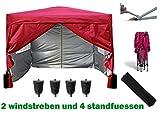 MCC 3x3m Pavillon, Gartenpavillon, Falt-Pavillon, Festzelt, Partyzelt, Komplettset in 6 Farben erhältlich, Rot
