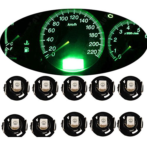 Mintice 10 X vert Voiture T4 / T4.2 Néo Wedge LED ampoule cluster tableau de bord Lumière de la jauge de climat