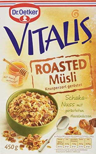 Dr. Oetker Vitalis Roasted Müsli Schokolade Nuss, Knuspriges Schoko-Nuss-Müsli für Frühstück und Zwischendurch, 8er Packung (8 x 450g)