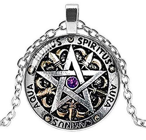 Collar con colgante de pentagrama Wiccan Spiritual, cadena plateada.