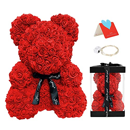 Delisouls - Oso de peluche con diseño de rosas artificiales, oso de espuma de 25 cm, romántico regalo para San Valentín, cumpleaños, bodas y aniversarios