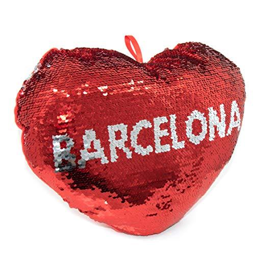 APEX GIFTS - Cojín con Forma de corazón de Lentejuelas y Reversible - El corazón de Barcelona