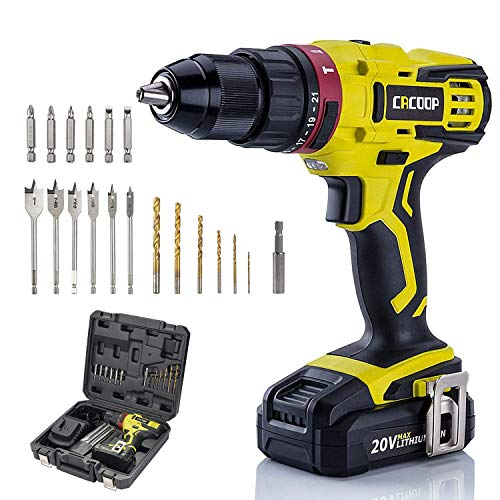 CACOOP 20v cordless hammer drill set with battery and charger,442lbs/50nm torque,21+1+1clutch,2Ah battery,1/2 keyless chuck,1H Fast charger,Variable Speed for concrete wood brick metal
