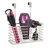 iron and blow dryer holder - mDesign Farmhouse Metal Bathroom Over Cabinet Door Hair Care & Styling Tool Organizer Storage Basket for Hair Dryer, Flat Iron, Curling Wand, Hair Straightener, Brushes - Holds Hot Tools - Satin