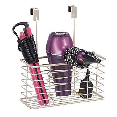 mDesign Farmhouse Metal Bathroom Over Cabinet Door Hair Care & Styling Tool Organizer Storage Basket for Hair Dryer, Flat Iron, Curling Wand, Hair Straightener, Brushes - Holds Hot Tools - Satin