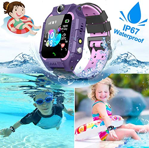 Waterproof Kids Smart Watch - GPS Tracker Smartwatch Phone for Boys Girls - Smart Watch with SOS Two-Way Call Games Touch Screen Digital Wrist Watch Holiday Toys Birthday Gifts (Purple)
