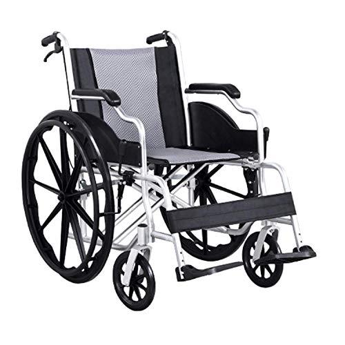 LLPDD Opvouwbare rolstoel met antislip handremmen aluminium legering comfortabele armleuningen oude man winkelwagen massieve banden gehandicapte reizen