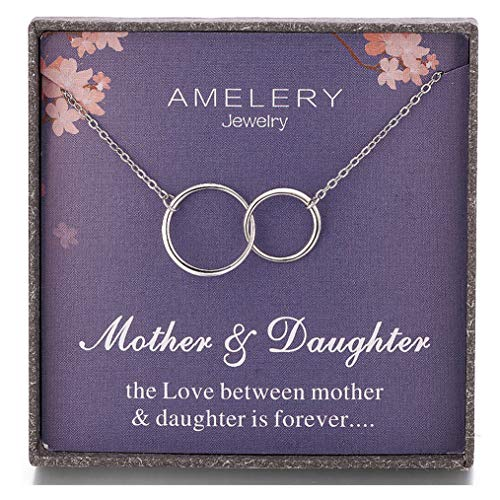 Gifts for Mother Daughter Necklace Sterling Silver Two Interlocking Infinity 2 Circles Pendants, Mothers Day Jewelry Birthday Gift