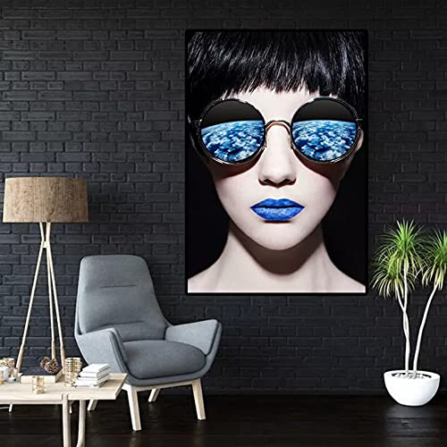 Pintura de Lienzo Decorativa Sala de Estar Fondo Pared Lienzo Cartel Arte Gafas de Sol Chica fresca-50x70cm