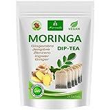 Té de Moringa 100% natural y vegano (opcionalmente Moringa-mezcla de hojas, manzana-canela, granada, jengibre, menta). 1A calidad (20 bolsitas de té Moringa-jengibre)