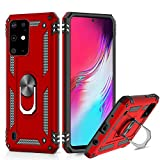 Suordii for Galaxy S20 Plus Case Military Grade Drop Impact 360 Metal Rotating Ring Kickstand Holder Magnetic Car Mount Armor Heavy Duty Case for Samsung Galaxy 20+ 5G - Red