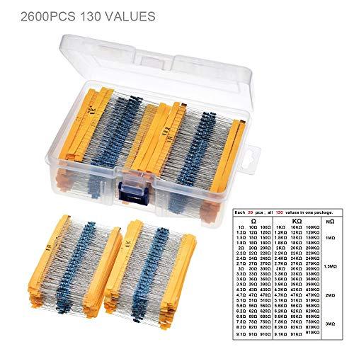 DHXX Artikel for 2600pcs 130 Werte 1 / 4W 0,25W 1% Metallschichtwiderstände sortierte Packung Kit Widerstände Sortiment Kits