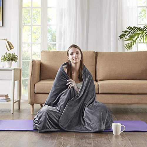 Gewichtsdecke für Erwachsene Therapiedecke mit Luxury Velvet Bezug Schafdecke Schwer Weighted Blanket Schwere Decke Charcoal, 127x152cm, 4.5KG