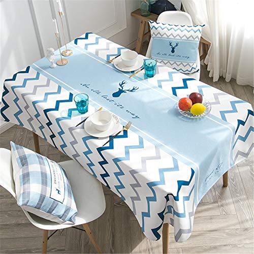 CCBAO Mantel De Hogar Rectangular Impermeable A Cuadros Azul, Mantel De Lino Y Algodón A Rayas 140x180cm