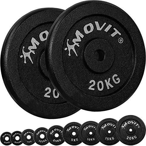 Movit® Hantelscheiben Set PRO, 100% Gusseisen, 30/31 mm Bohrung, Gewichtsscheiben Set Gewichte Hantel 2X 20,0kg