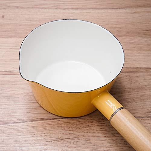 Cacerolas Cazo Ceramica Esmalte Espeso 1.2L Con Fugas De Leche Olla Hervida Cereal Bebé Arroz Pasta Leche Caliente Cocina Gas, Amarillo