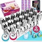 RFAQK- 70 Pcs Russian piping tips set with storage case - Cake decorating supplies kit - 28 Numbered...