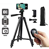 Lightweight Tripod, 42 Inch 106cm Aluminum Lightweight Tripod for iPhone/Cellphone, Quick Release Plate, Bluetooth Remote Control, Camera and GoPro, Phone Clip and Gopro Mount, Carrying Bag