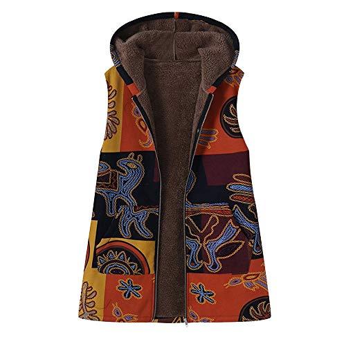 VEMOW Heißer Elegante Damen Frauen Warme Outwear Vintage Geometric Print Mit Kapuze Taschen Oversize Weste Mantel Jacke Winter Herbst(X2-Gelb, 42 DE/XL CN)