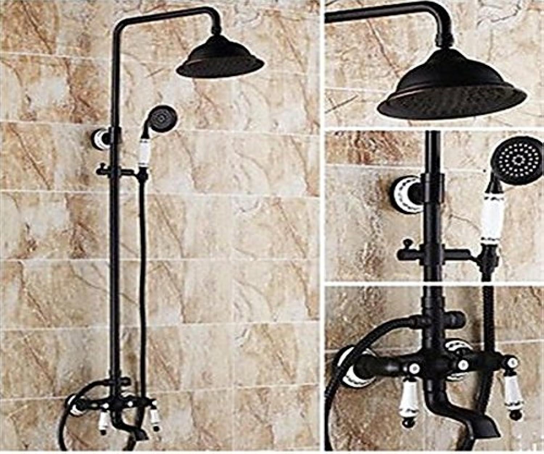 YFF@ILU Home deco Accessoires Vintage Dusche System Regendusche Handdusche mit Keramik Ventil zwei Griffen drei Bohrungen für l- rieb Bronze, Dusche Wasserhahn