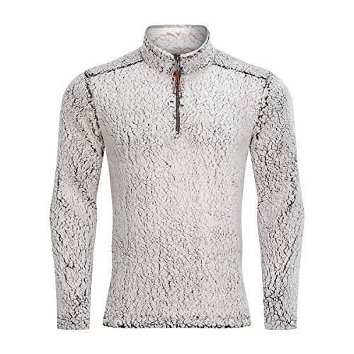 TACVASEN Men's Sweaters-1/4 Zip Sherpa Pullover Fleece Winter Warm Jacket Coffee