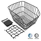 Hoobbii Rear Bike Basket, Waterproof Metal Wire Bicycle Basket with Adjustable Cargo Net and Waterproof Bike Basket Liner, Suitable for Most Rear Bike Racks.