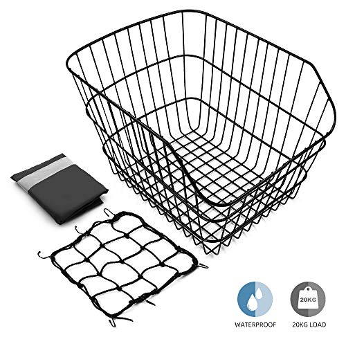 Hoobbii Rear Bike Basket, Waterproof Metal Wire Bicycle Basket with Adjustable Cargo Net and Waterproof Rainproof Cover Fits to Most Rear Bike Racks