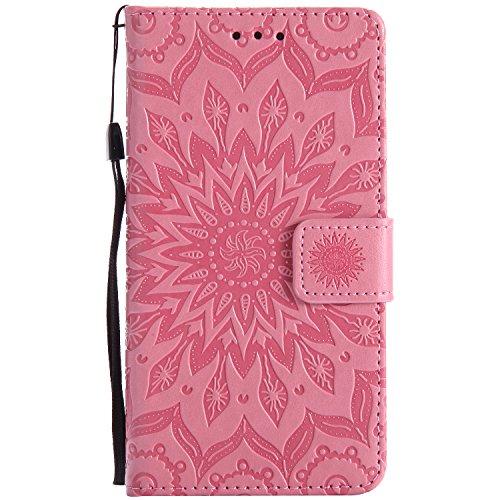 Tiga Shopping Funda Sony Xperia Z5 Flip PU Cuero Caso Sol Patrón en Relieve/Stent/Billetera/con el Sostenedor de Tarjeta/Proteccion Caso Cubrir para Sony Xperia Z5(Rosa)