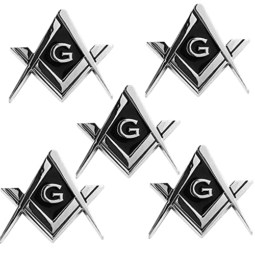 5 Pack 2.75' Chrome Plated Masonic Car Emblem Mason Square and Compasses Auto Truck Motorcycle Decal Gift Accessories