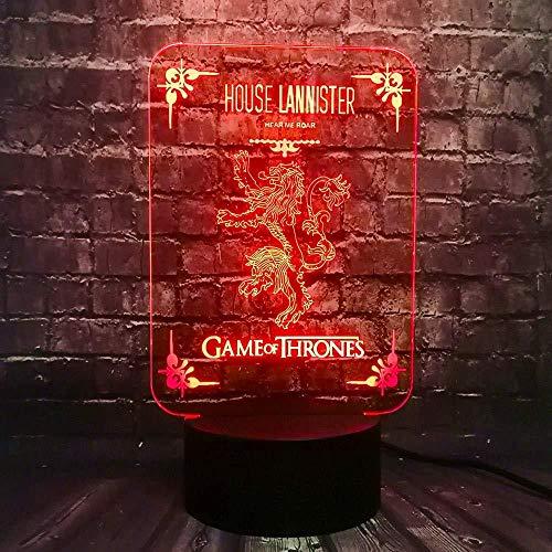 Nachtlicht Kinder Nachtlicht Led Roman Acryl Dekoration Tisch Stimmung Nachtlicht Game of Thrones Haus Lannister Logo Urlaub Versorgung Party Lava Freunde Geschenk mit Fernbedienung